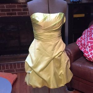 David's Bridal Light Green Bridesmaid Dress